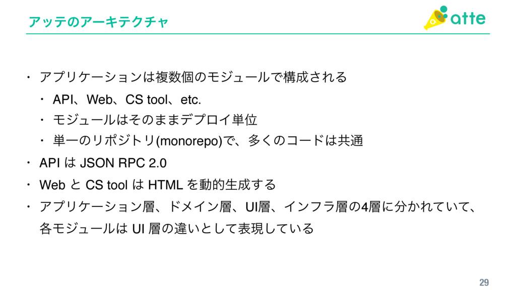 ΞοςͷΞʔΩςΫνϟ 29 • ΞϓϦέʔγϣϯෳݸͷϞδϡʔϧͰߏ͞ΕΔ • API...