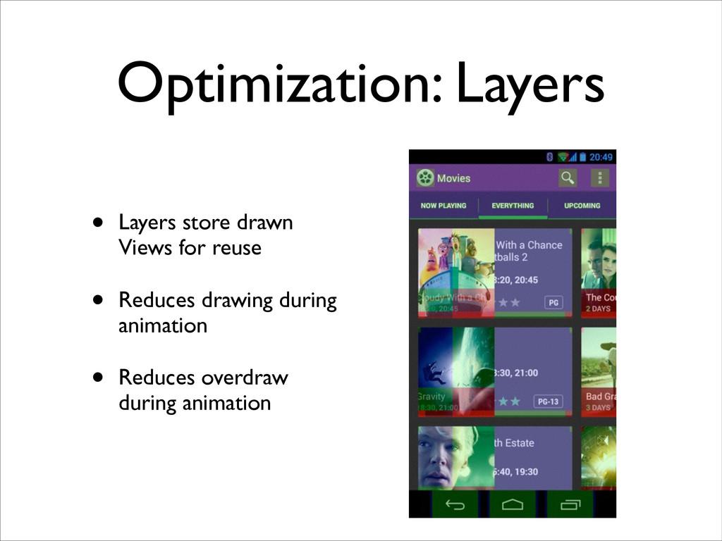 Optimization: Layers • Layers store drawn Views...