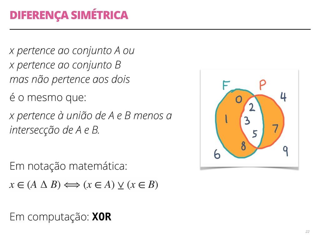 DIFERENÇA SIMÉTRICA x pertence ao conjunto A ou...