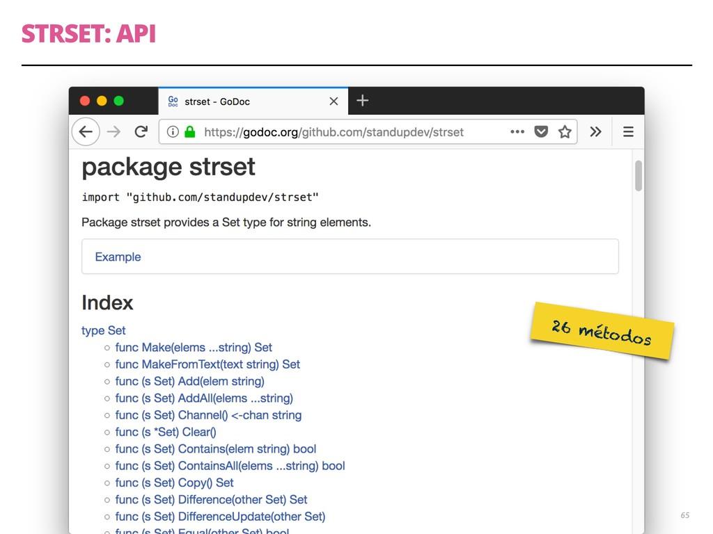 STRSET: API 65 26 métodos