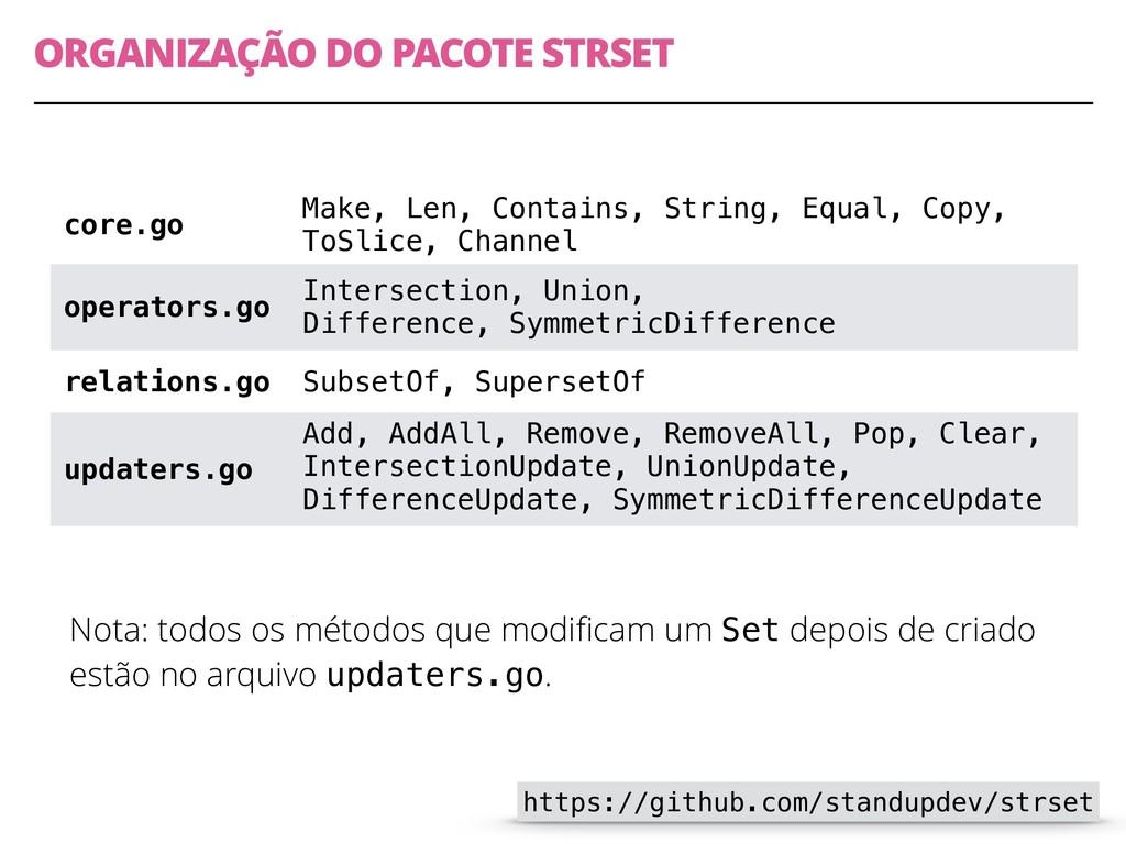 ORGANIZAÇÃO DO PACOTE STRSET Nota: todos os mét...