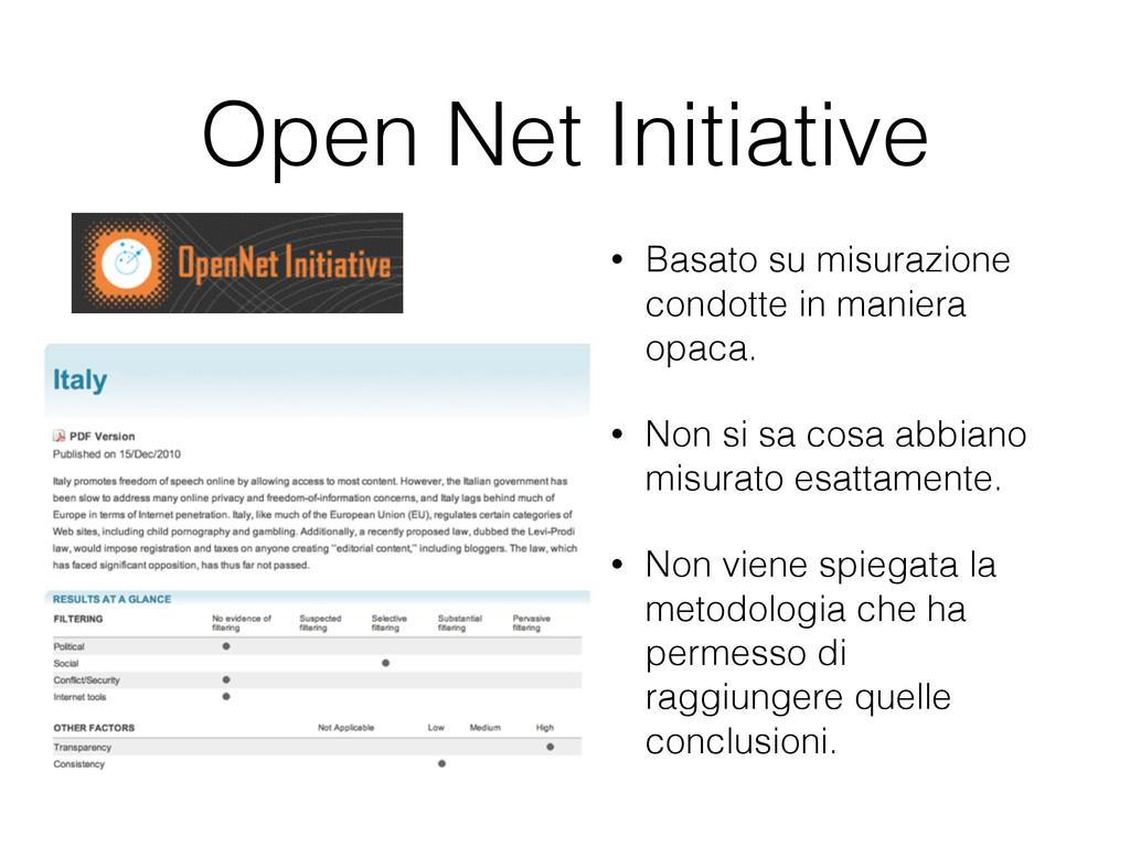 Open Net Initiative • Basato su misurazione con...