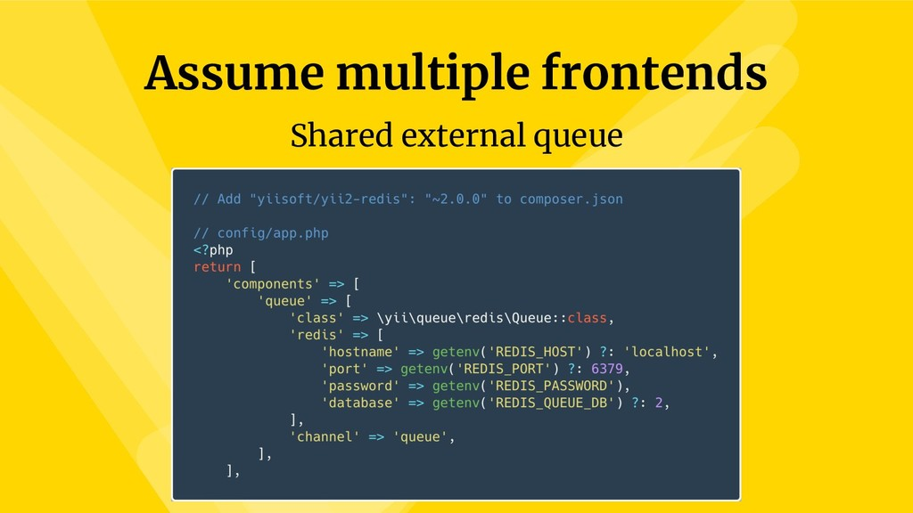 Assume multiple frontends Shared external queue