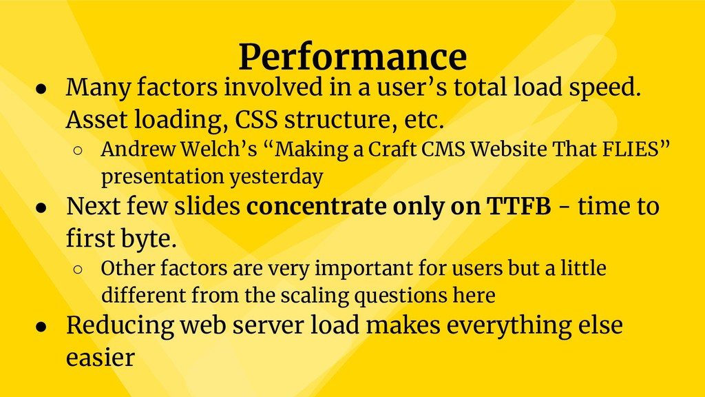 Performance ● Many factors involved in a user's...