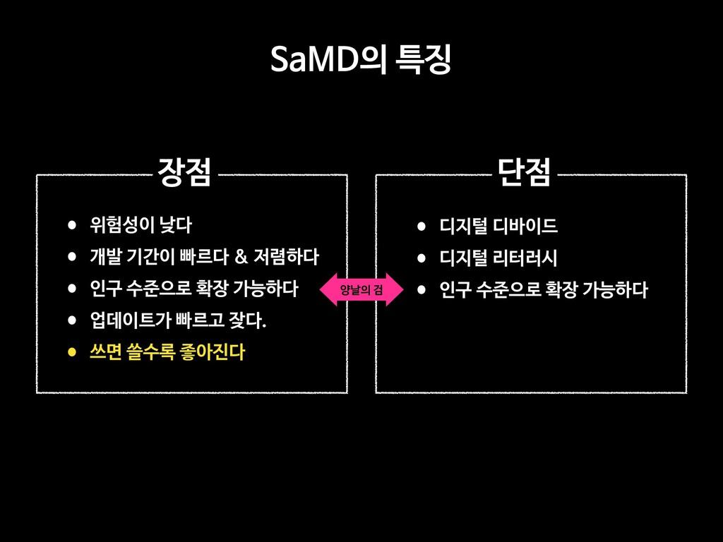 SaMD의 특징 •위험성이 낮다   •개발 기간이 빠르다 & 저렴하다  •인구 수준으...