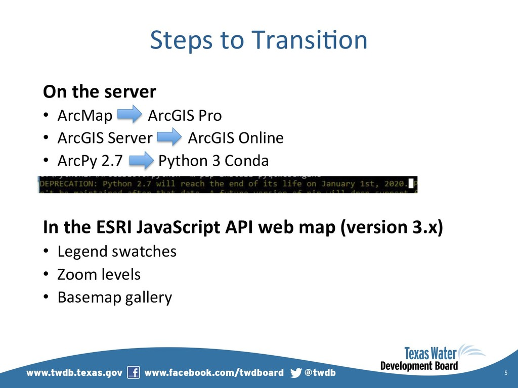 Steps to Transi)on On the server •  ArcMap ArcG...