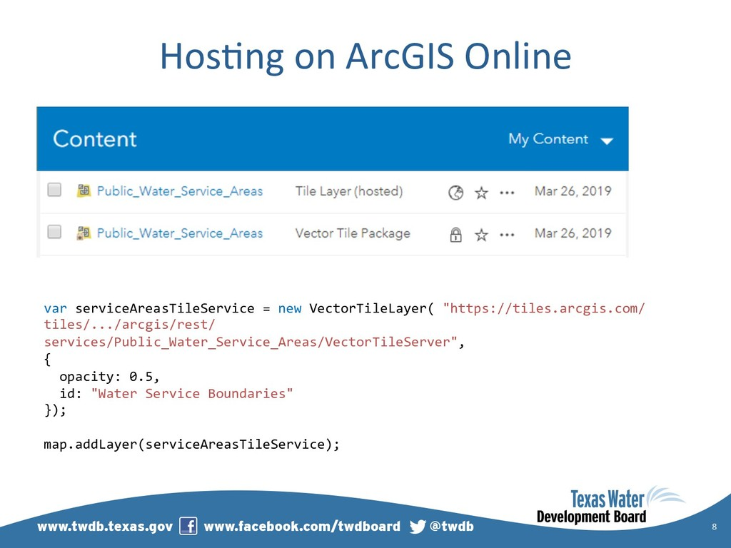 Hos)ng on ArcGIS Online 8 var serviceAreasTileS...