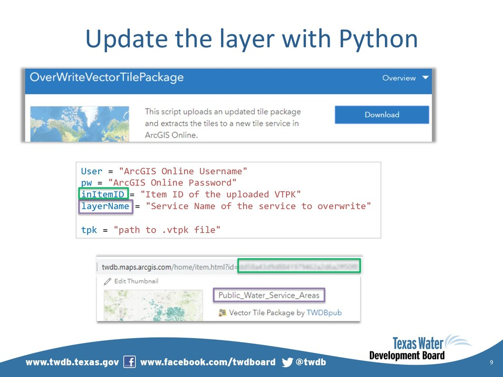 "Update the layer with Python 9 User = ""ArcGIS O..."