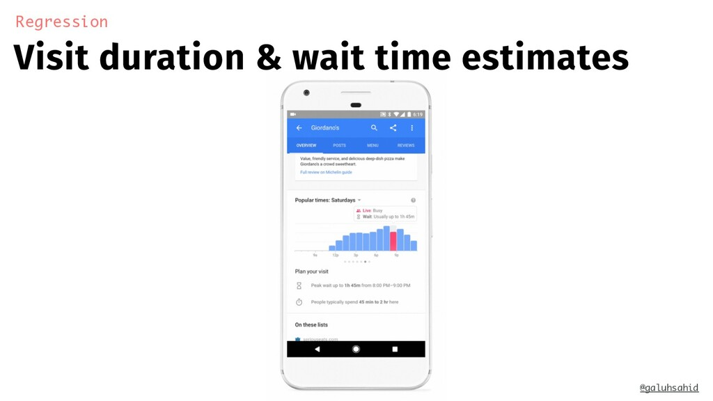 Visit duration & wait time estimates Regression...