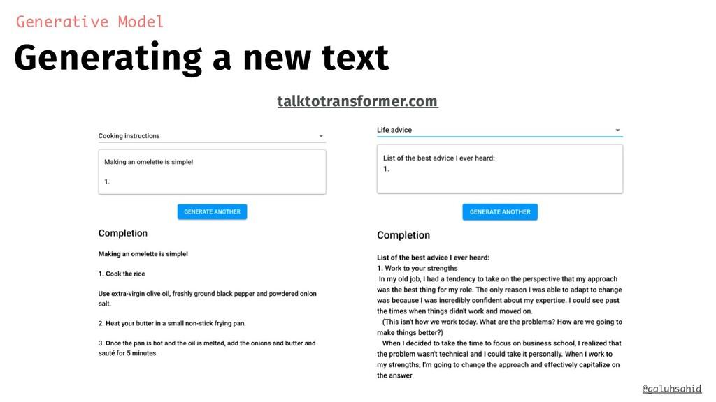 Generative Model Generating a new text @galuhsa...