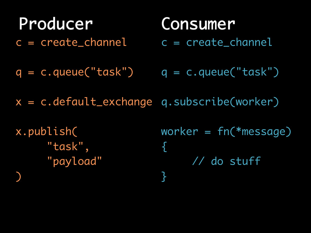 "Producer c = create_channel q = c.queue(""task"")..."