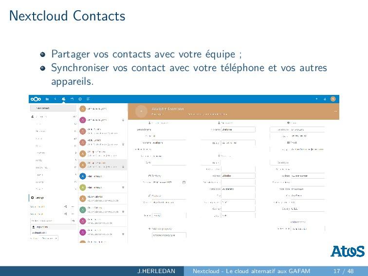 Nextcloud Contacts Partager vos contacts avec v...