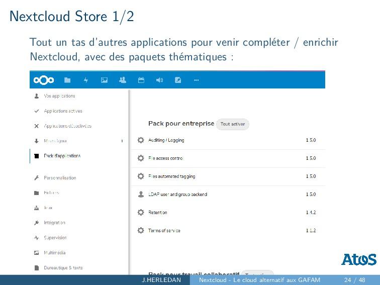 Nextcloud Store 1/2 Tout un tas d'autres applic...