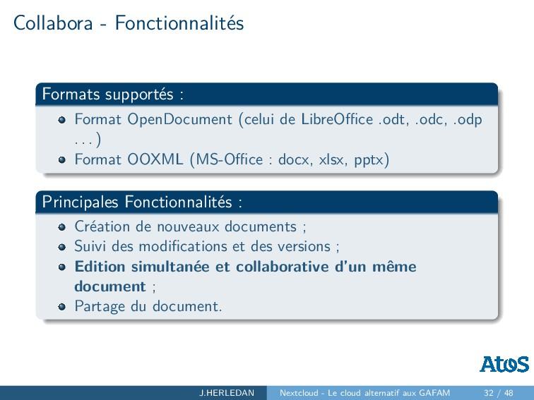 Collabora - Fonctionnalités Formats supportés :...