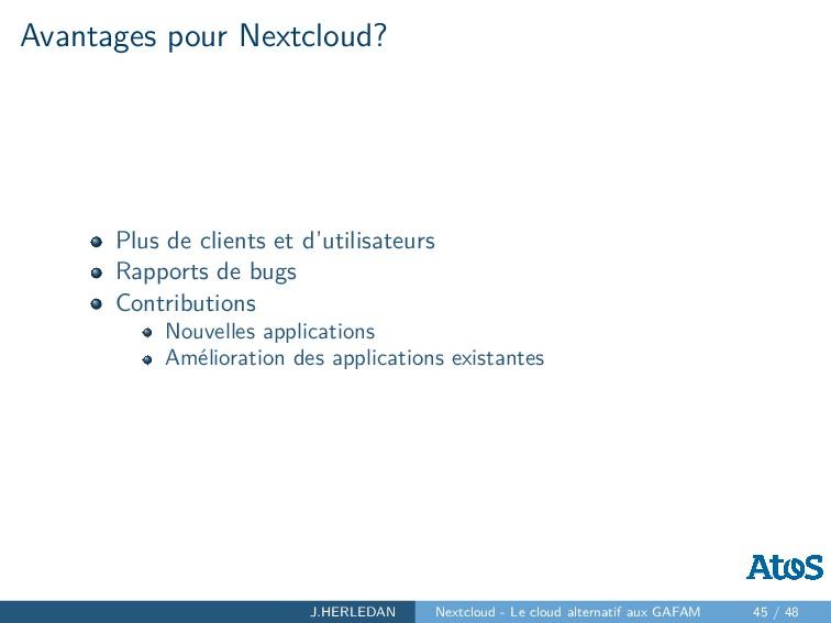 Avantages pour Nextcloud? Plus de clients et d'...