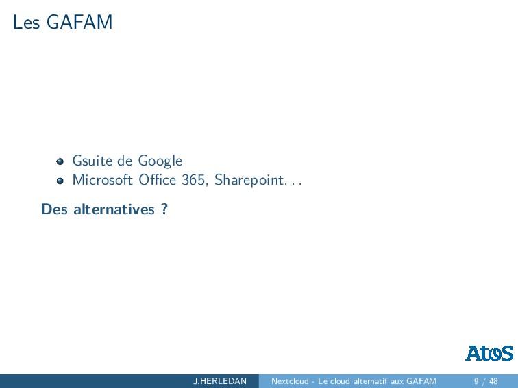 Les GAFAM Gsuite de Google Microsoft Office 365, ...
