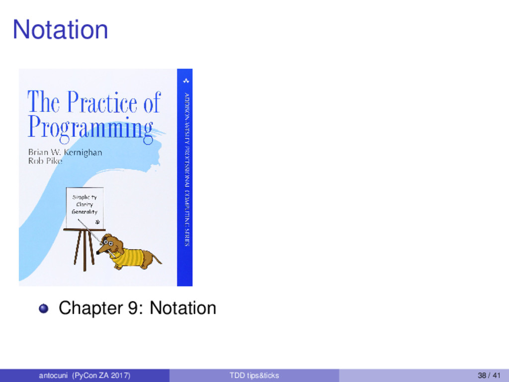 Notation Chapter 9: Notation antocuni (PyCon ZA...