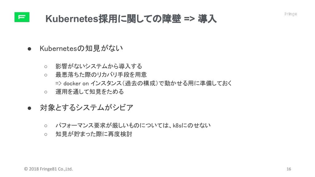 Kubernetes採用に関しての障壁 => 導入 ● Kubernetesの知見がない ○ ...