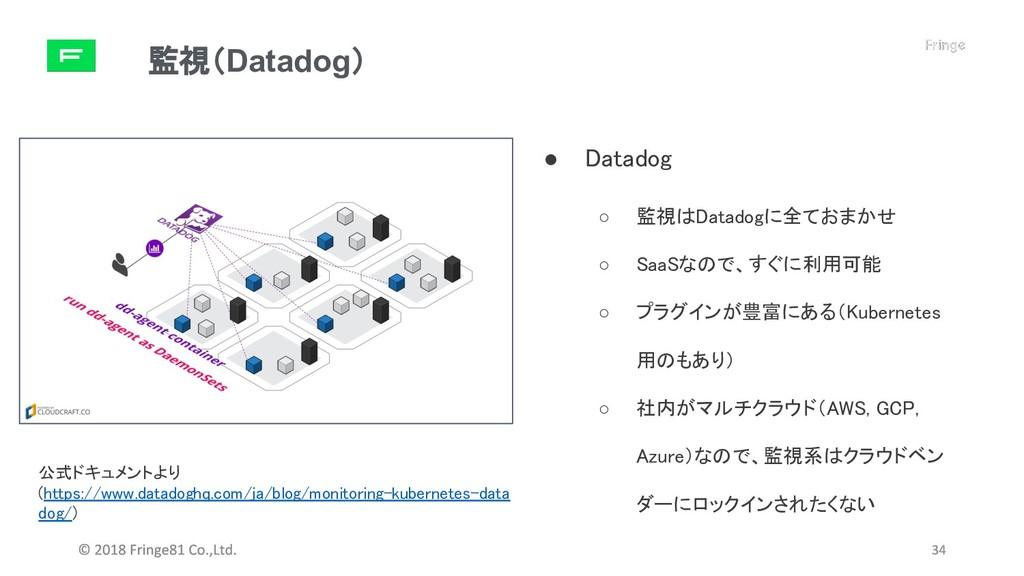 監視(Datadog) ● Datadog ○ 監視はDatadogに全ておまかせ ○ Saa...