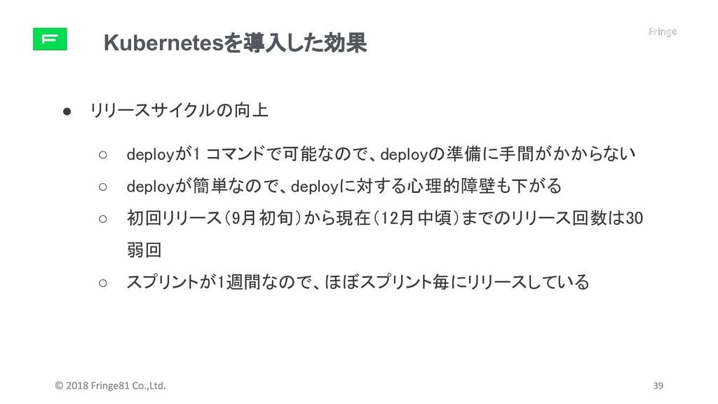 Kubernetesを導入した効果 ● リリースサイクルの向上 ○ deployが1 コマンド...