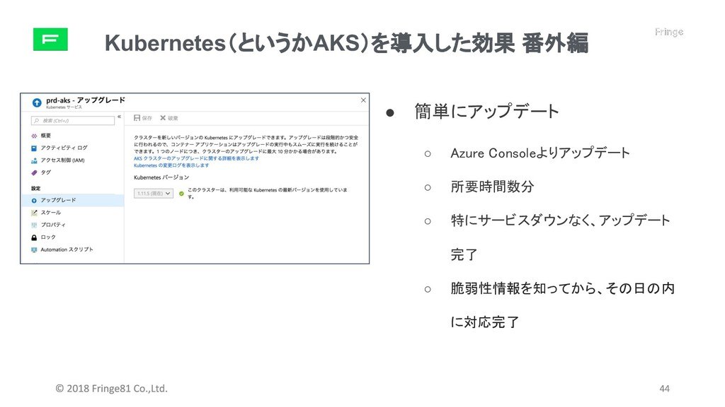 Kubernetes(というかAKS)を導入した効果 番外編 ● 簡単にアップデート ○ Az...