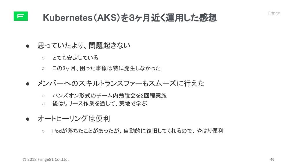 Kubernetes(AKS)を3ヶ月近く運用した感想 ● 思っていたより、問題起きない ○ ...