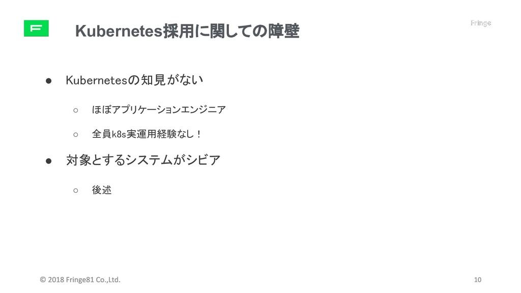 Kubernetes採用に関しての障壁 ● Kubernetesの知見がない ○ ほぼアプリケ...