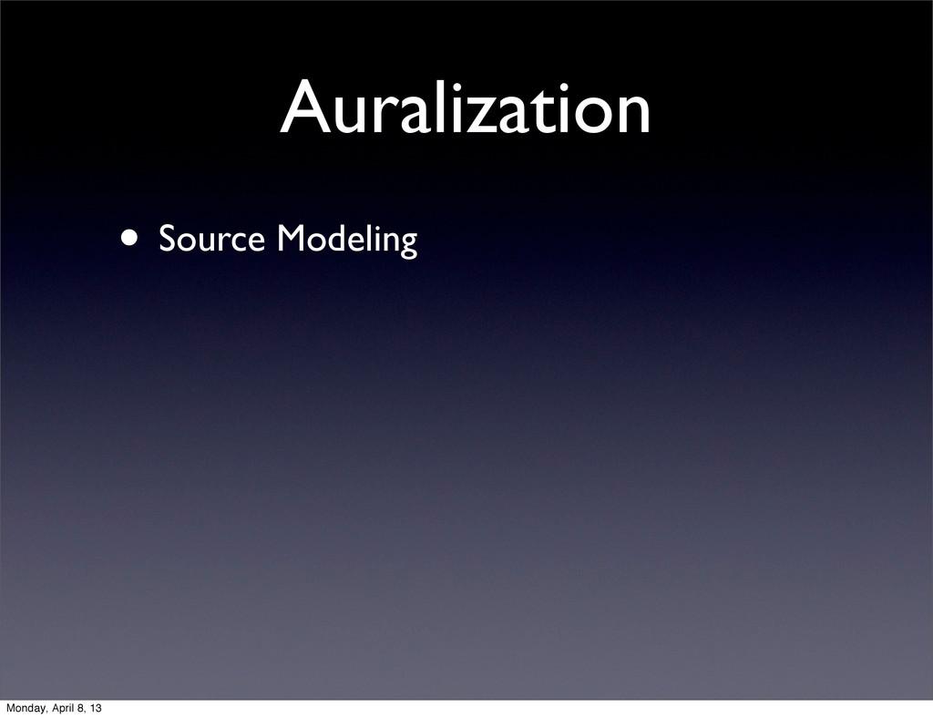 Auralization • Source Modeling Monday, April 8,...