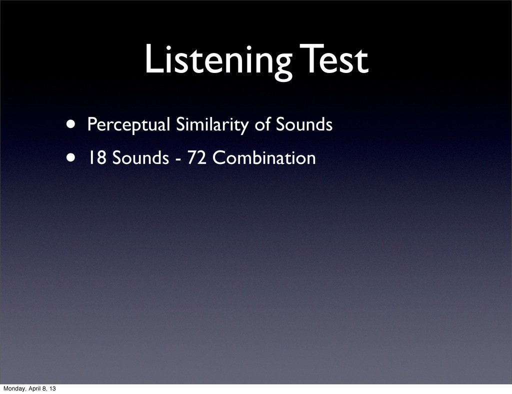 Listening Test • Perceptual Similarity of Sound...