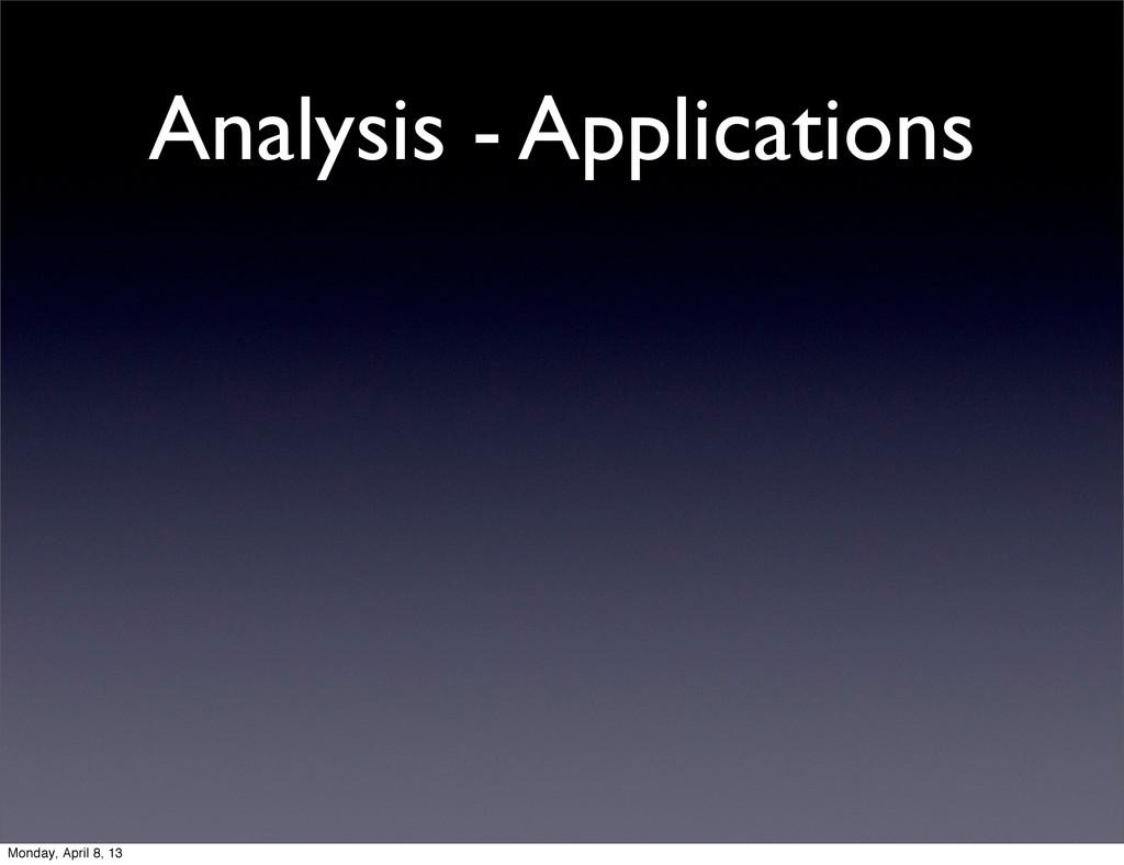 Analysis - Applications Monday, April 8, 13