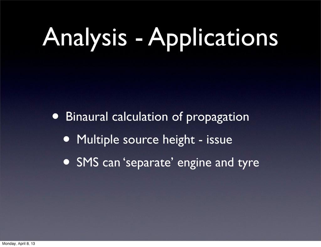Analysis - Applications • Binaural calculation ...