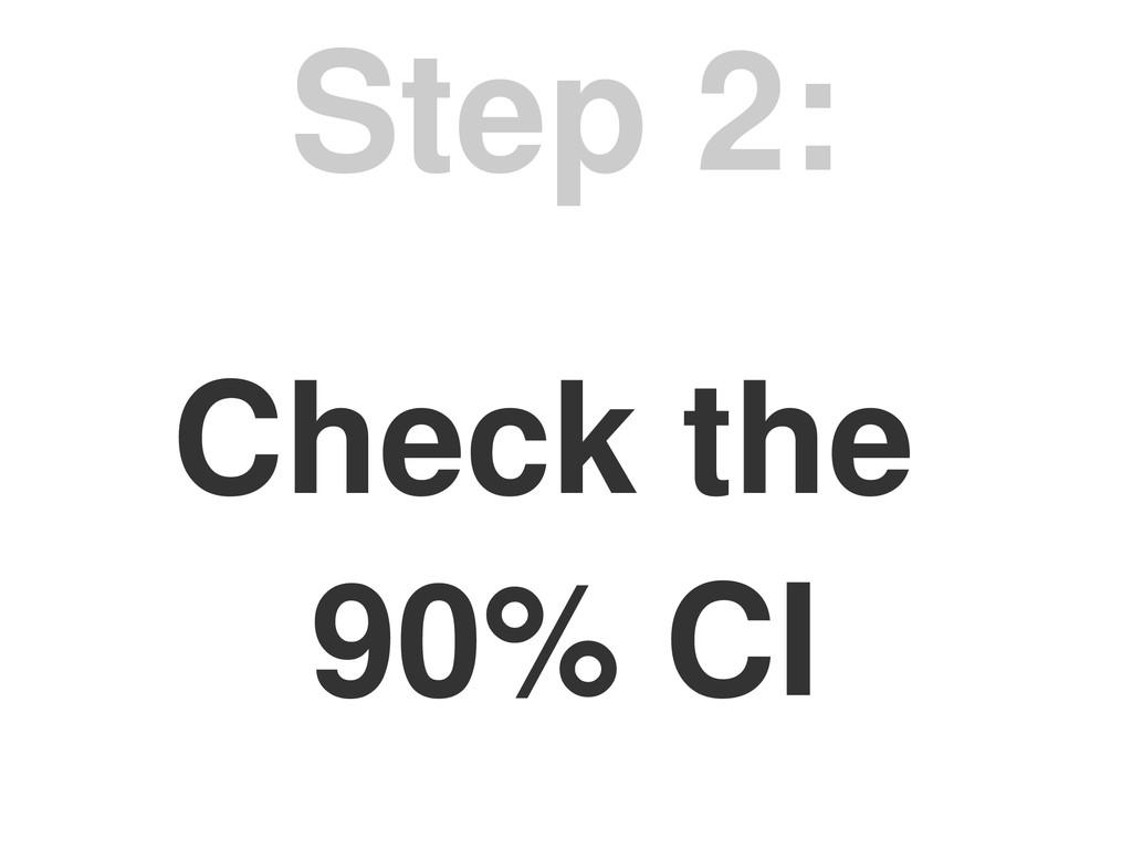 Check the 90% CI Step 2: