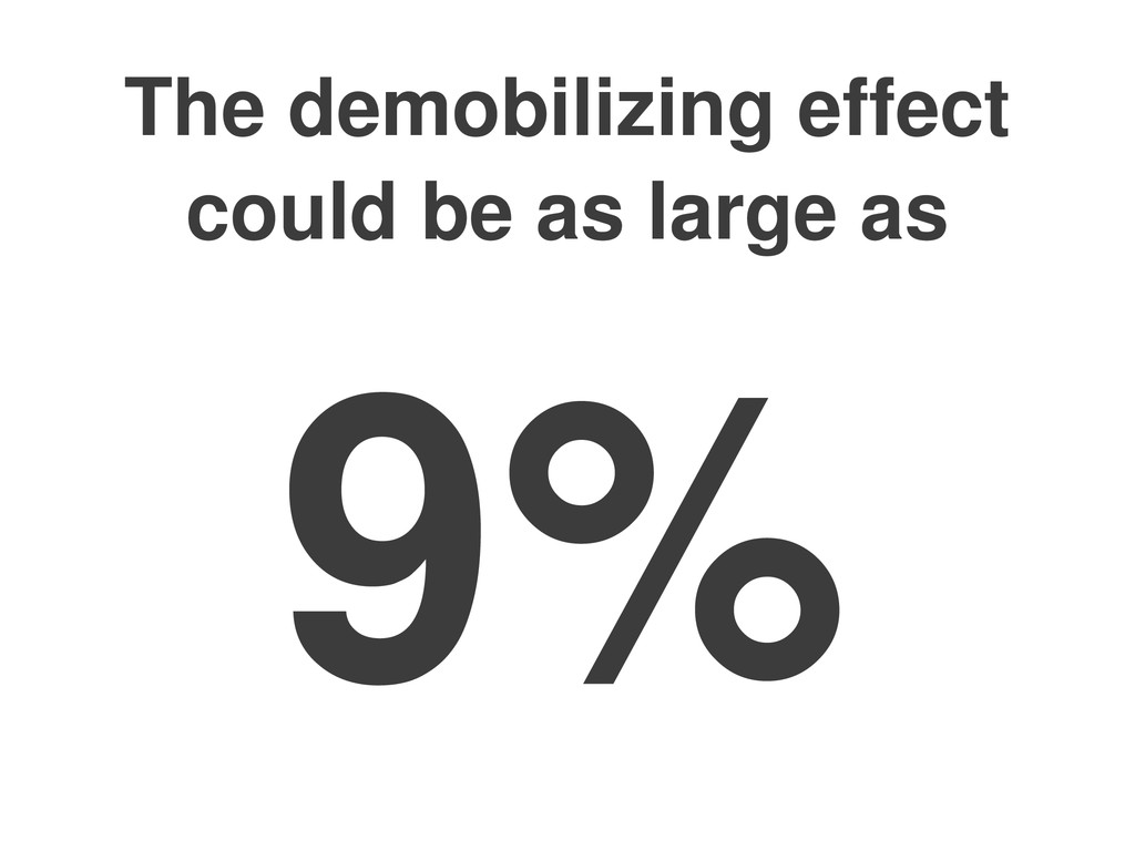 The demobilizing effect could be as large as 9%