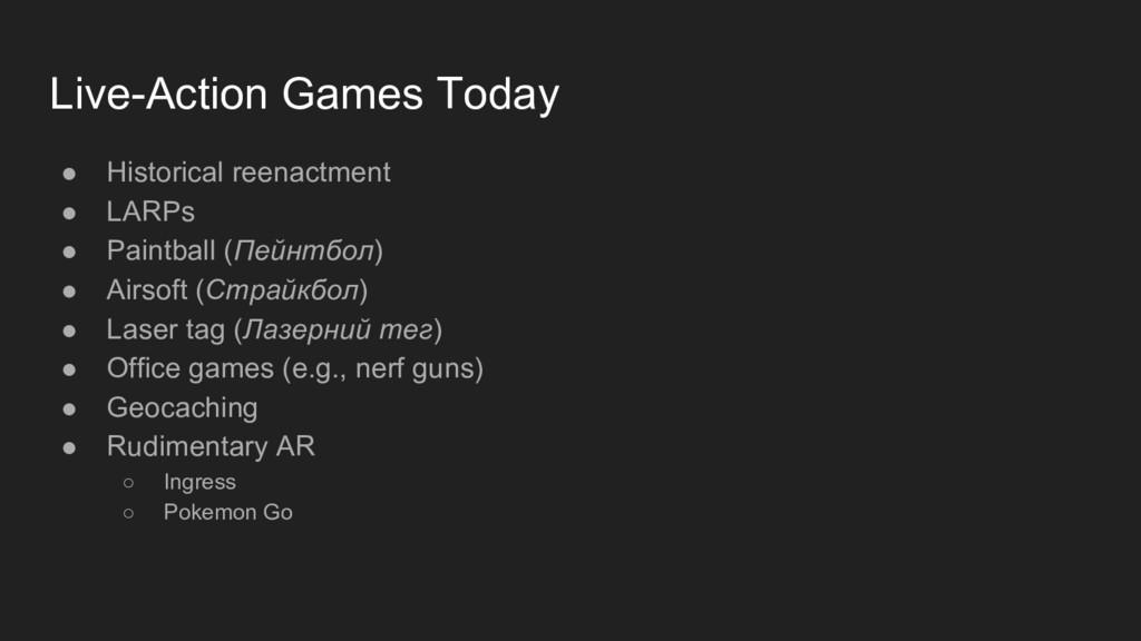 Live-Action Games Today ● Historical reenactmen...