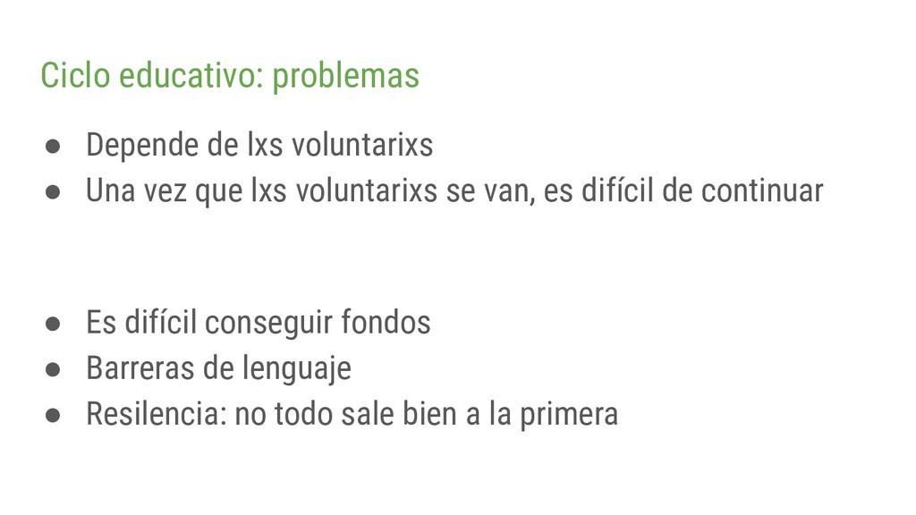Ciclo educativo: problemas ● Depende de lxs vol...