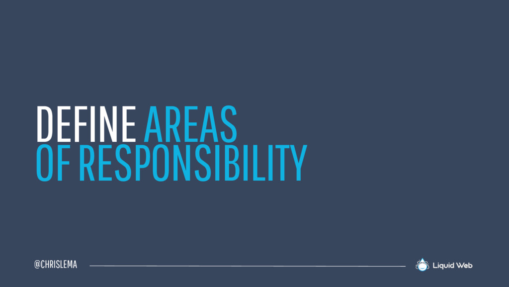 @CHRISLEMA DEFINE AREAS OF RESPONSIBILITY