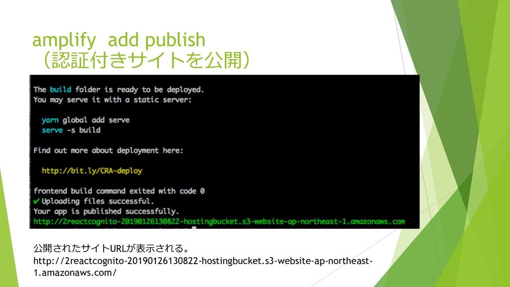 amplify add publish    URL...