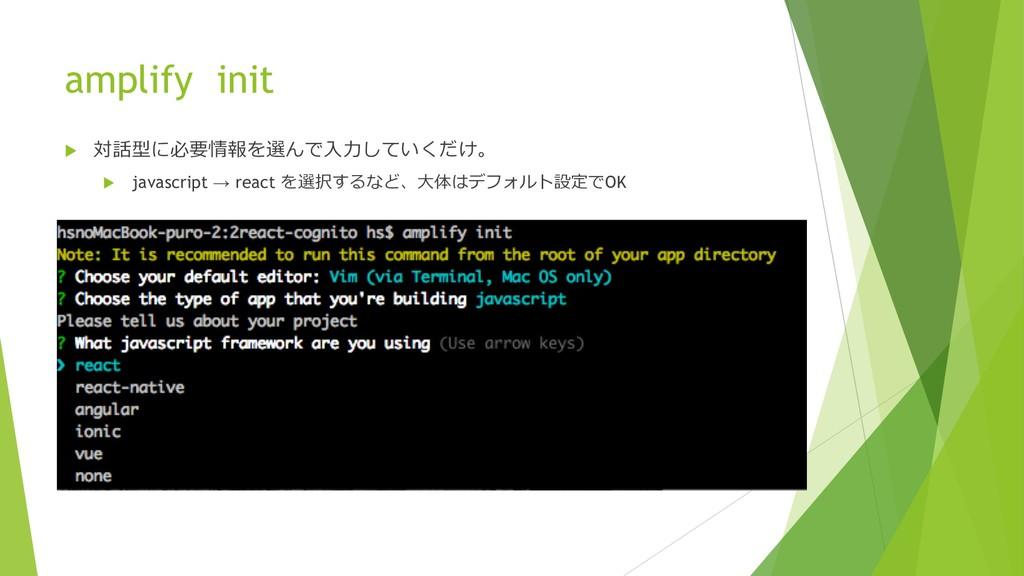 "amplify init u  $#""!   u javascri..."