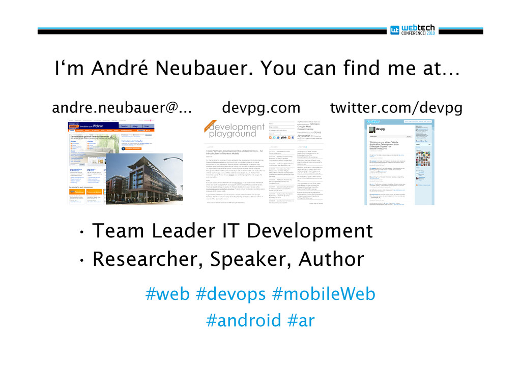 I'm André Neubauer. You can find me at… •Team ...