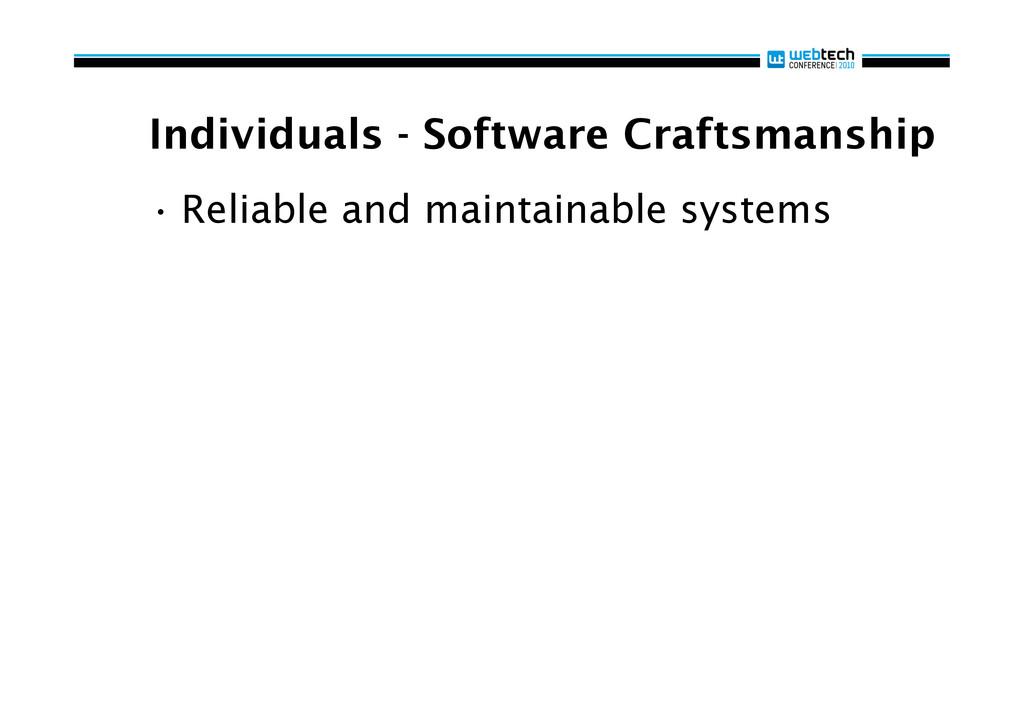 Individuals - Software Craftsmanship •Reliable...