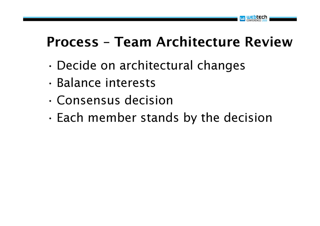 Process – Team Architecture Review •Decide on ...