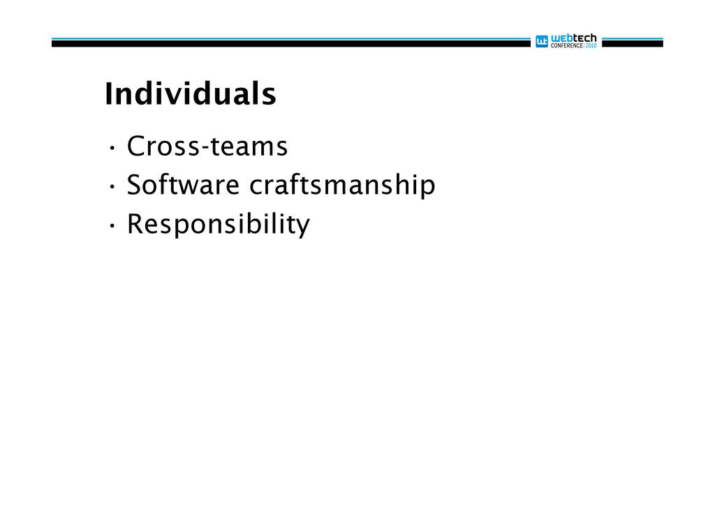 Individuals •Cross-teams •Software craftsmans...