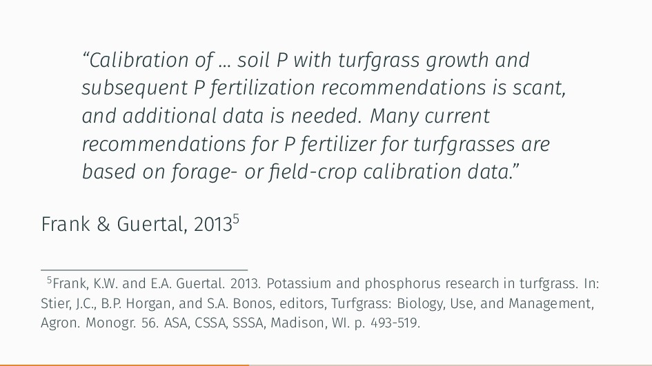 """""""Calibration of … soil P with turfgrass growth ..."""