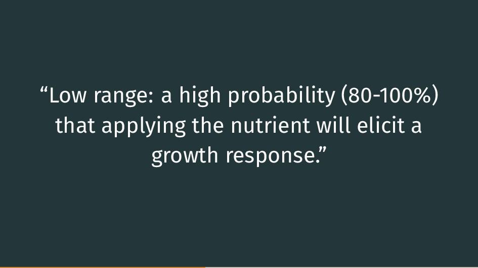 """""""Low range: a high probability (80-100%) that a..."""