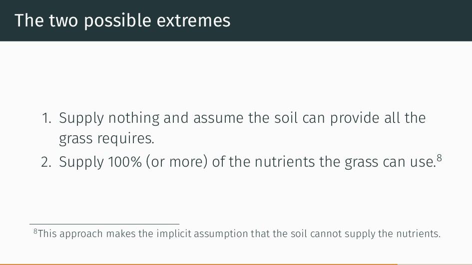 The two possible extremes 1. Supply nothing and...