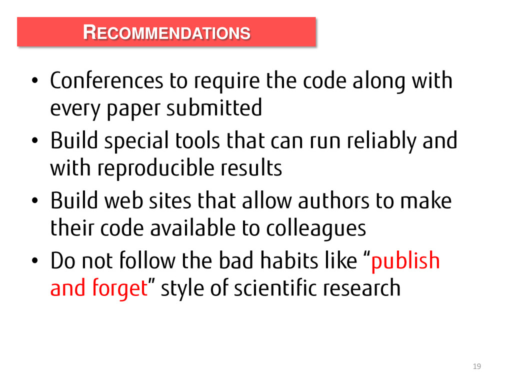 • Conferences to require the code along with ev...