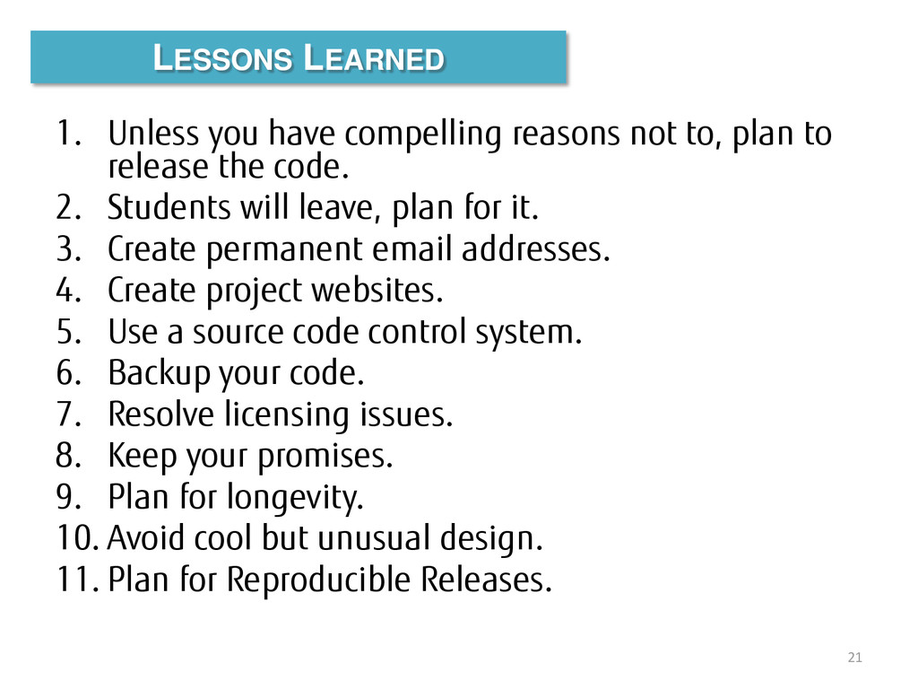 1. Unless you have compelling reasons not to, p...