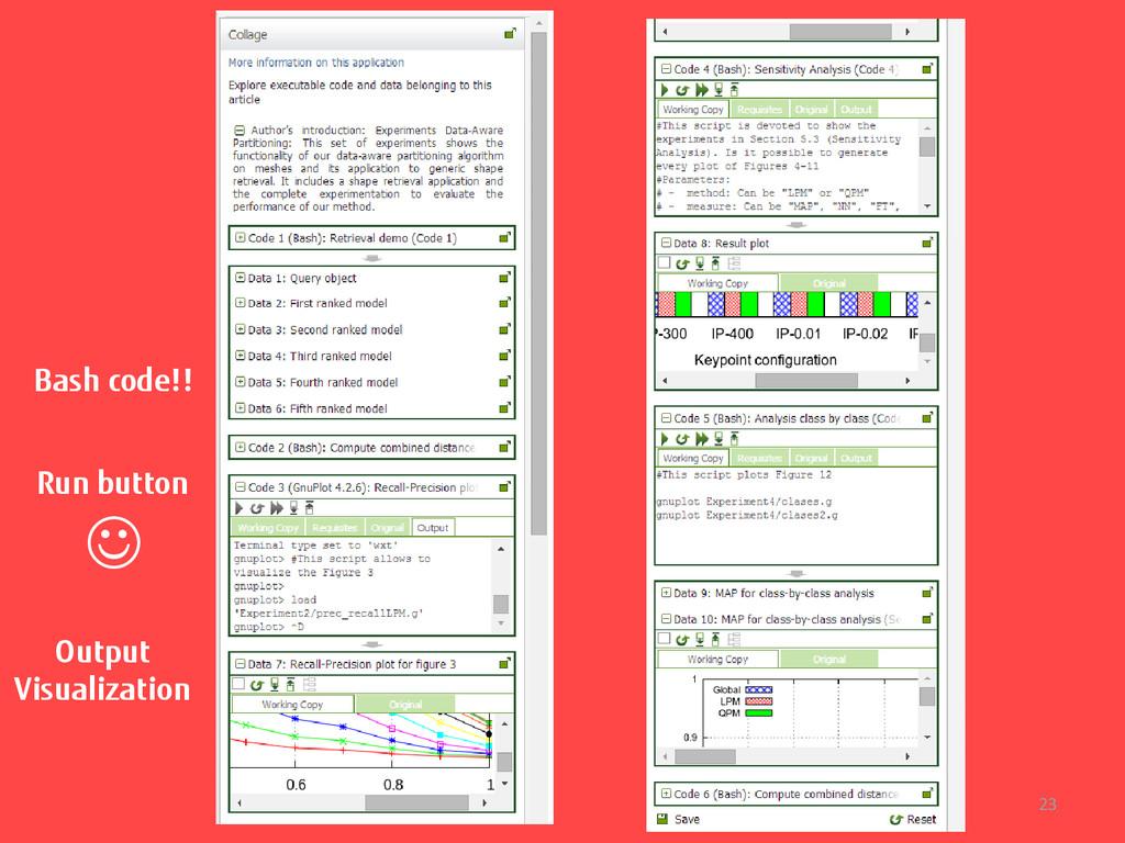 23 Bash code!! Run button  Output Visualization