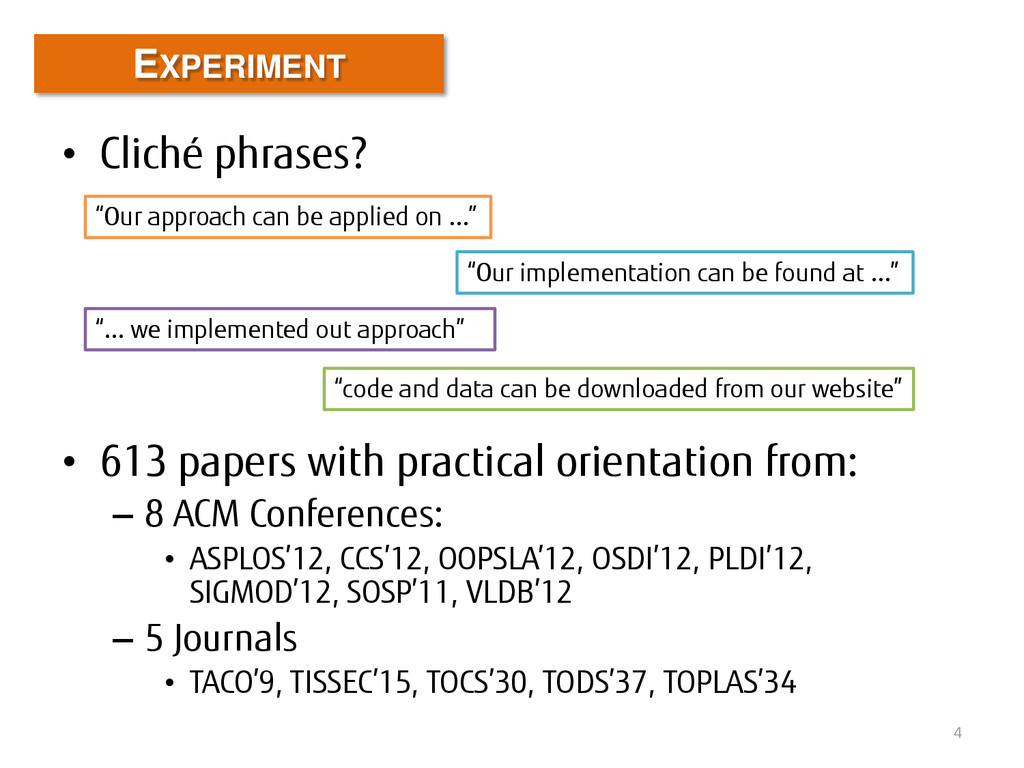 • Cliché phrases? • 613 papers with practical o...