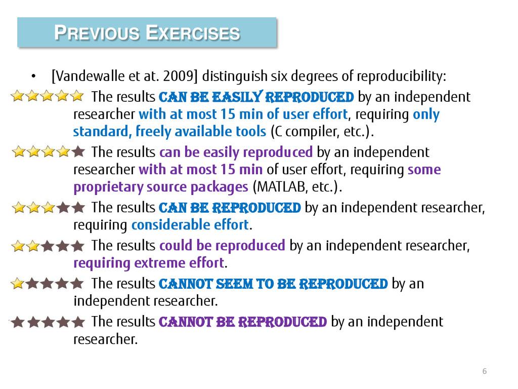 • [Vandewalle et at. 2009] distinguish six degr...
